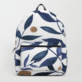Watercolor berries and branches - indigo and beige Backpack