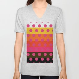 Earth and Summer Sky - Color Strips with Pink Dots Unisex V-Neck
