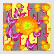 CONTEMPORARY PURPLE BUTTERFLIES ORANGE POPPY FLOWERS Canvas Print