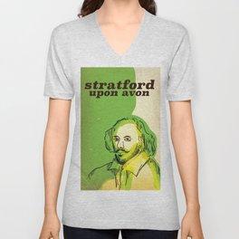 stratford upon avon Shakespeare vintage travel poster Unisex V-Neck