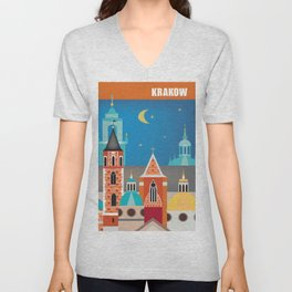 Krakow, Poland - Skyline Illustration by Loose Petals Unisex V-Neck