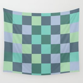 Abstract green squares geometry Wall Tapestry