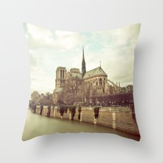Notre Dame Cathedral on the Seine Throw Pillow