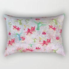 Vintage Watercolor hummingbird and Fuchsia Flowers on pink Background Rectangular Pillow