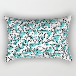 Oddgon and Angular Cluster in Turquoise Rectangular Pillow