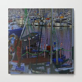 Christmas Boats In Harbor Metal Print