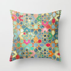 Gilt & Glory - Colorful Moroccan Mosaic Throw Pillow