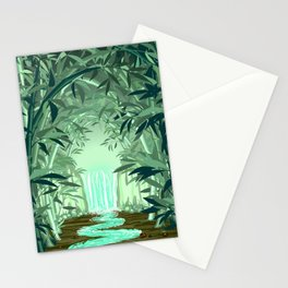 Fluorescent Waterfall on Surreal Bamboo Forest Stationery Cards