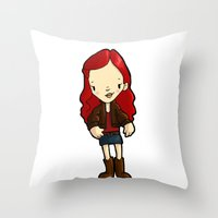 amy pond Throw Pillows featuring AMY by Space Bat designs