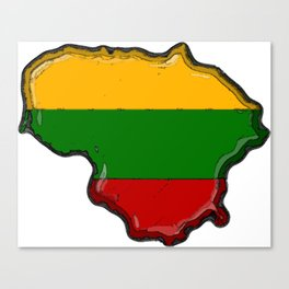 Lithuania Map with Lithuanian Flag Canvas Print