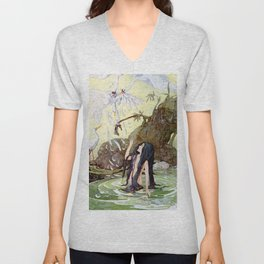 """The Marsh King's Daughter"" Fairy Art by Anne Anderson Unisex V-Neck"