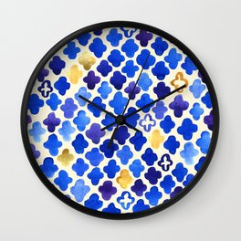 Rustic Watercolor Moroccan in Royal Blue & Gold Wall Clock