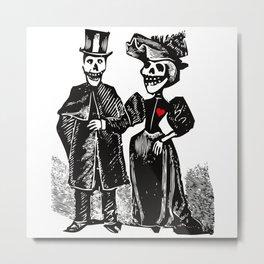 Calavera Couple Metal Print