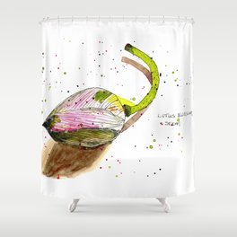 Lotus Blossom and Stem Shower Curtain