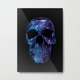 Polygon Skull - Blue / Purple Metal Print