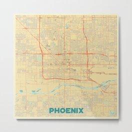 Phoenix Map Retro Metal Print