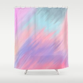 Modern abstract artsy pink lavender teal brushstrokes Shower Curtain