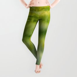 Abstract Green Gold Watercolor Pattern Texture Leggings