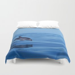 Spotted dolphin jumping in the Atlantic ocean Duvet Cover