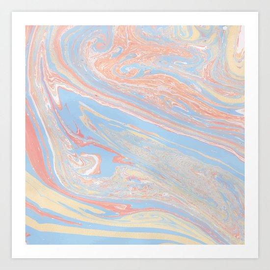 Pastel marble Art Print