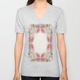 Pink Chrysanthemums Kaleidoscope Art 9 Unisex V-Neck