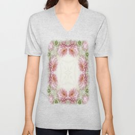 Pink Chrysanthemums Kaleidoscope Art 9 Unisex V-Neck