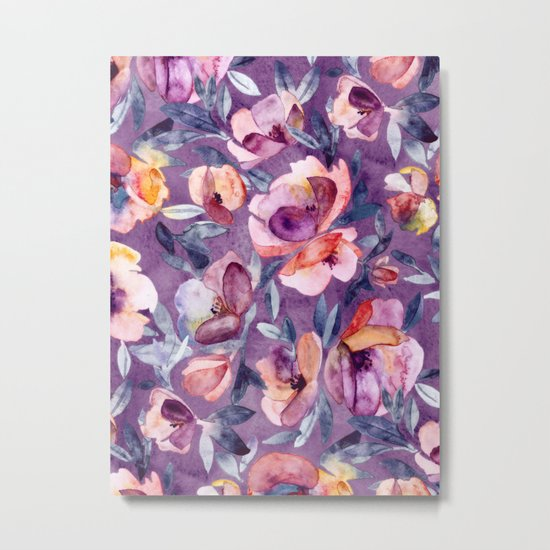 May Afternoon - a watercolor floral in purple and peach Metal Print
