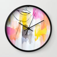 lips Wall Clocks featuring Lips by Alexandra Str