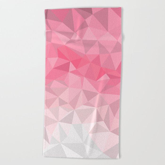 Pink Polygon Beach Towel