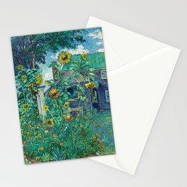 Sunflowers & Artist's House, Hampton Bays by David Davidovich Burliuk Stationery Cards
