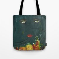 the great gatsby Tote Bags featuring Gatsby by Julia Lopez