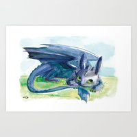 how to train your dragon Art Prints featuring How to Train Your Dragon - Toothless by PinStripes Studios