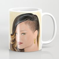rihanna Mugs featuring Rihanna by Tanita