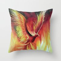 phoenix Throw Pillows featuring phoenix by OLHADARCHUK