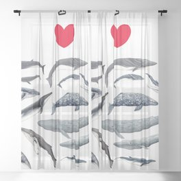 I love whales design Sheer Curtain