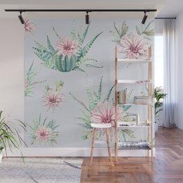 Cactus Pattern Light Blue #society6 #buyart Wall Mural