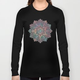 Winter Sunset Mandala in Charcoal, Mint and Melon Long Sleeve T-shirt