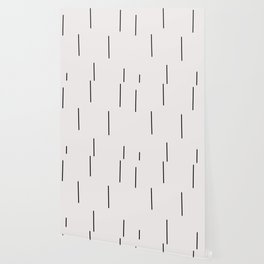 Mudcloth white black dashes vectical Wallpaper