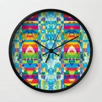 glitch Wall Clocks featuring glitch by Xenia Pirovskikh
