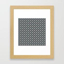 Grey white blue polka dot pattern Framed Art Print