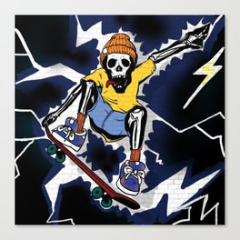 Wicked Electrocuted Skeleton Boy Canvas Print
