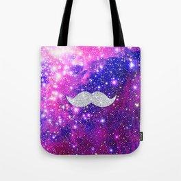 Galaxy Nebula Glitter Mustache Pink Space Tote Bag