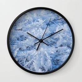Snowflakes on Ice // Frosty Frozen Morning Wall Clock