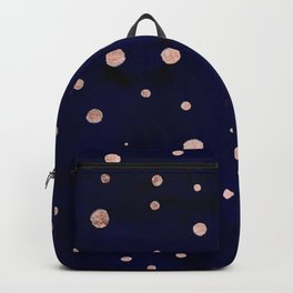 Navy blue watercolor chic rose gold modern confetti polka dots pattern Backpack
