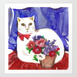 Cozy Cat and Flower Basket Art Print
