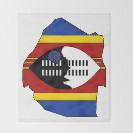 Swaziland Map with Swazi Flag Throw Blanket
