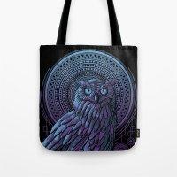 nouveau Tote Bags featuring Owl Nouveau II by Jorge Garza