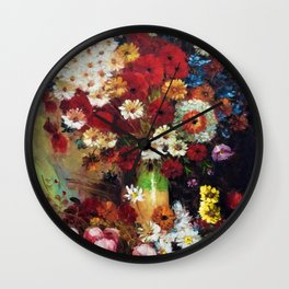 Red Poppies, Dahlias, Daises, Begonia, Parrot Tulips in Vase Tuscany Still Life by Vincent van Gogh Wall Clock