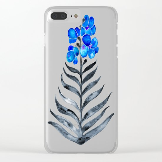 Blooming Orchid – Blue & Black Palette Clear iPhone Case