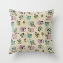Cacti Watercolor Pattern Throw Pillow